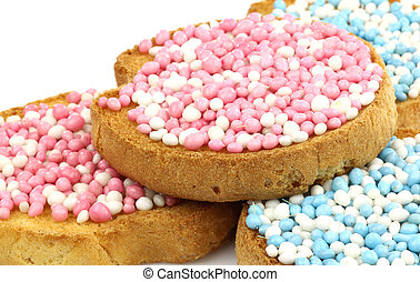 rusks with anise seed sprinkles - rusks with white and blue...