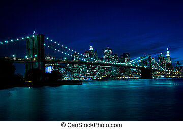 New York, Brooklyn Bridge at night, blue tint