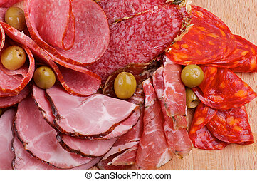Arrangement of Meat delicatessen with Ham, Pepperoni,...