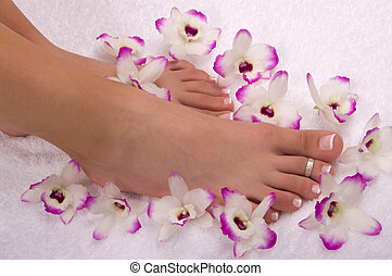 Spa Treatment - Spa treatment with beautiful orchids on soft...