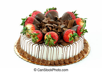 Vanilla cake with strawberries and shredded chocolate on top...