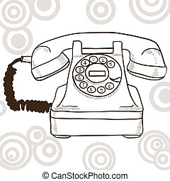 Old vintage telephone - illustration with retro look