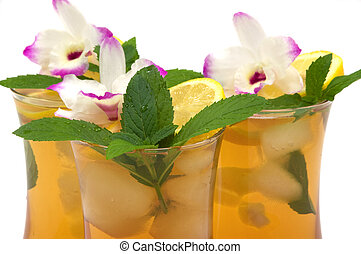 Ice Tea - Tropical papaya ice tea with mint, lemon and...