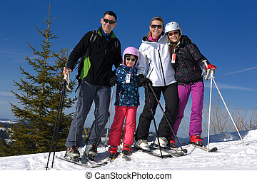 portrait of happy young family at winter - portrait of happy...