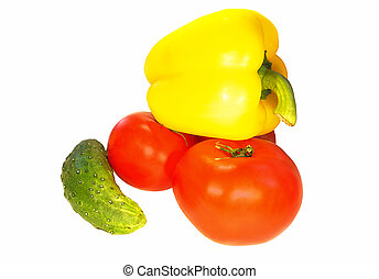 Fresh Vegetables Tomato ucumber yellow Pepper on white...