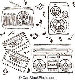 Collection of retro music hand-drawn illustration