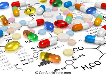 Pharmacy concept: macro view of heap of color pills and...