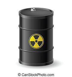 Radioactive barrel - Black Barrel with a Radioactive Warning...