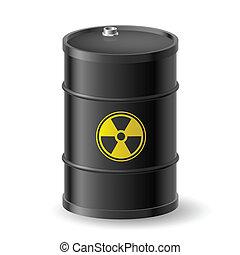 Radioactive barrel - Black Barrel with a Radioactive Warning...
