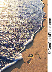 Tropical beach with footprints - Tropical sandy beach with...
