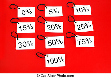 different white tags with the percentage level isolated on...