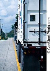 The back of an 18 wheeler transport truck
