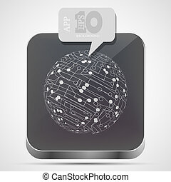 Vector circuit board app icon with gray bubble speech. Eps 10