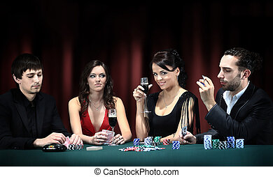 Poker players sitting around