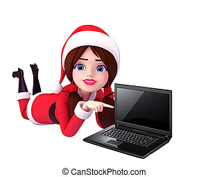 santa girl working on laptop - 3d art illustration of santa...