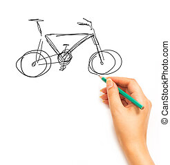 Hand draws a bicycle