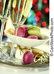 Colorful macaroons and Champagne
