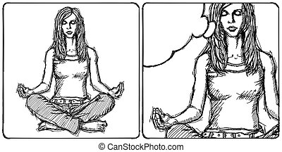 Sketch woman meditation in lotus pose - Sketch, comics style...
