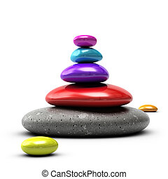 colorful pebbles stacked over white background with purple,...
