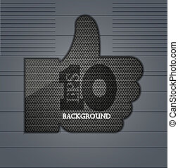 Vector metal thumb up on metal background Eps 10
