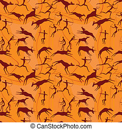 cave figures of primitive people - seamless a background...