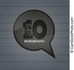 Vector circle metal bubble speech on metal background. Eps 10