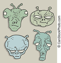 Four aliens mask - Creative draw of four aliens mask