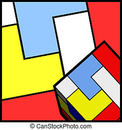 Cube art color - Creative design of cube art color