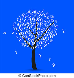Vector music tree on blue background. Eps 10