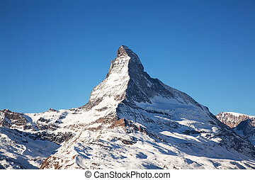 Mountain Matterhorn in Switzerland - Matterhorn mountain top...