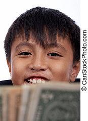 cheerful kid looking