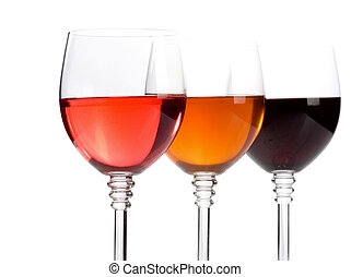 wine in glasses isolated on white