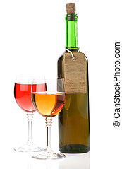 wine in glass and bottle on white - wine in glass and bottle...