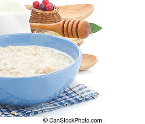 oatmeal in bowl isolated on white background