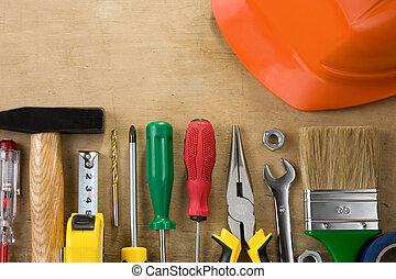 madera, construcción, herramientas,  Kit
