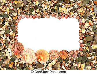 Frame made of seashells and stones