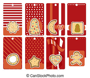 labels with gingerbread, vector il