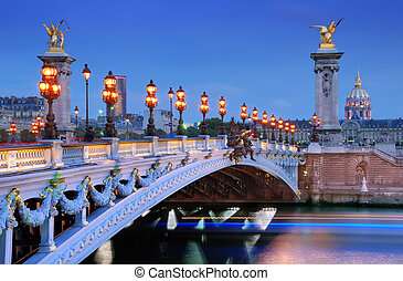 Alexander III bridge. - The Alexander III Bridge across...