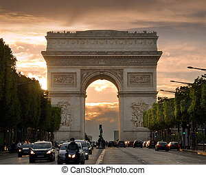 The Arch - The Triumphal Arch Arc de Triomphe de lEtoile on...