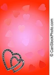 Heart brooch and background - Heart brooch with marcasite...