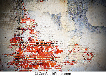 Old wall background - Background with grunge wall and bricks...
