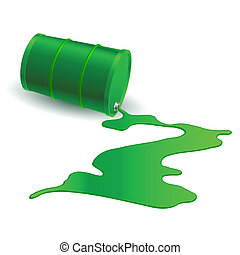 Chemical barrel - Spilled Chemical Green Barrel Illustration...