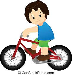 equitación, Un, bicicleta