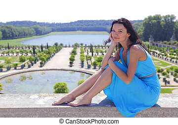 woman in Versailles gardens France