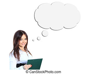 Woman and Blank Thought Bubbles with Clipping Path Isolated...