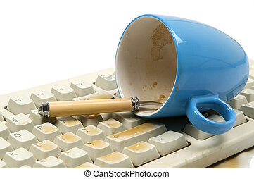 Oooops - The coffee mug just felt over my keyboard Isolated...