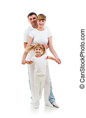 Happy kid girl with parents looking directly to camera. Studio shot isolated.