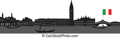 Venice skyline Italy with the bridge and gondola