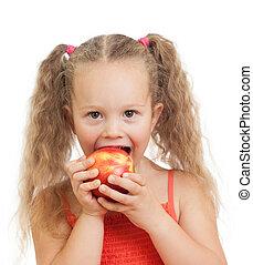 孩子, 吃, 健康, 食物, 蘋果