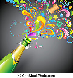 Party Blast - illustration of colorful swirls coming out of...